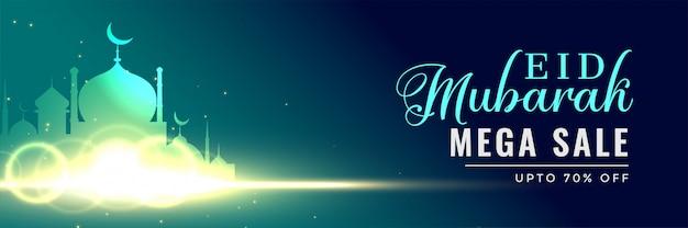 Schöne leuchtende moschee eid mubarak