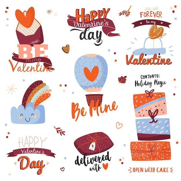 Schöne liebesaufkleber mit valentinstagelementen und reizendem schriftzug. auf weißem hintergrund isoliert. romantische und niedliche symbole leter, auto, wolke, herzen, band, geschenke.
