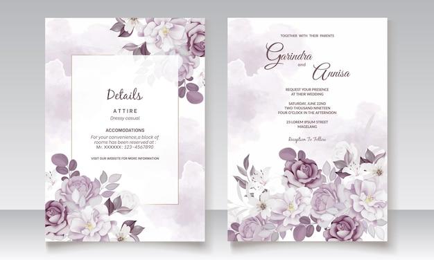Schöne lila blumenhochzeitseinladungskarte