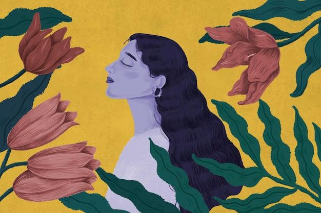 Schöne lila frau umgeben von naturillustration