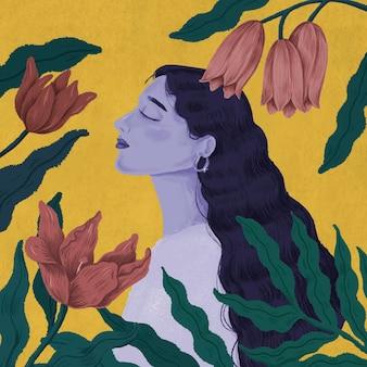 Schöne lila frau, umgeben von naturillustration