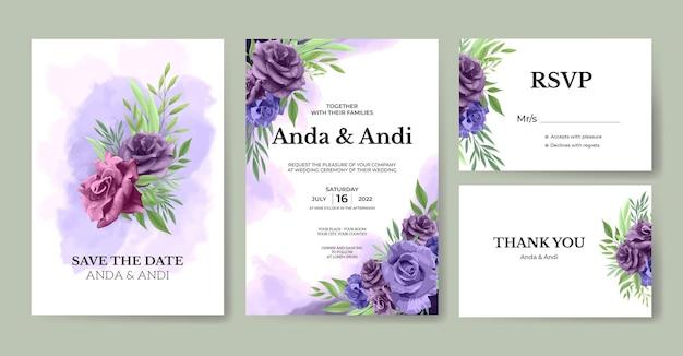 Schöne lila rosenblumenhochzeitseinladungskartenschablone