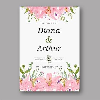 Schöne lilie aquarellhochzeitseinladung