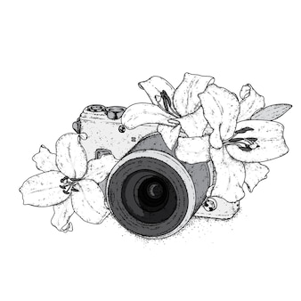 Schöne lilien und eine vintage-kamera. illustration.