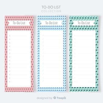 Schöne liste, um sammlung mit flachem design zu tun