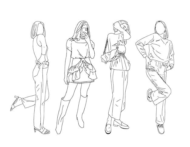 Schöne mädchen in trendiger kleidung zeigen einen modernen jugendstil. linearer stil. vektor-illustration. Premium Vektoren