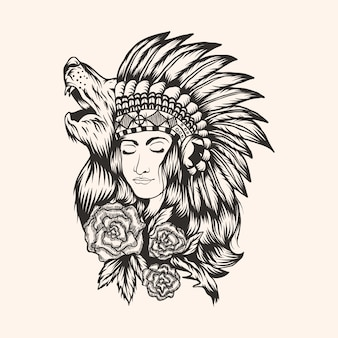 Schöne mädchenvektorillustration des amerikanischen ureinwohners