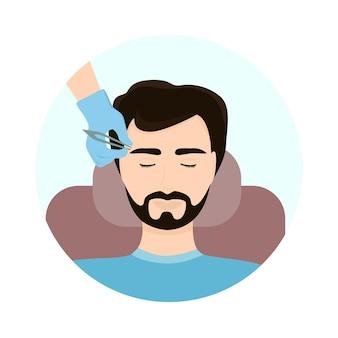 Schöne männliche augen und augenbrauen. der augenbrauenmeister arbeitet. schönheitsindustrie, körperpflege.
