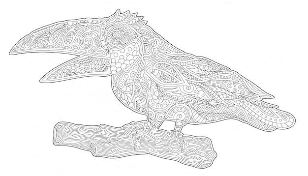 Schöne malbuchkunst mit stilisiertem tukan