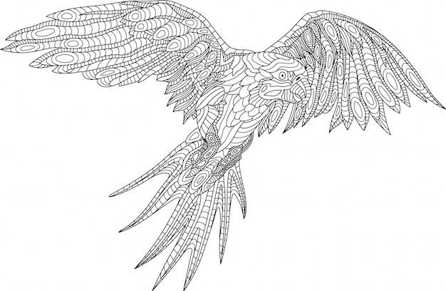 Schöne malbuchseite mit papagei auf weißem hintergrund
