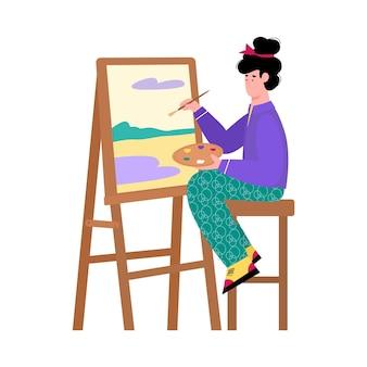 Schöne malerkünstlerin, die an der staffelei sitzt und auf leinwand malt, karikatur lokalisiert auf weißem hintergrund. kreatives hobby und interessen der menschen.