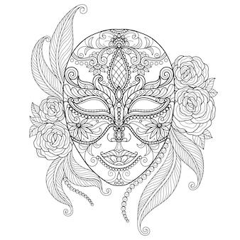 Schöne maske. hand gezeichnete skizzenillustration für erwachsenenmalbuch