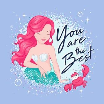Schöne meerjungfrau des korallenhaars auf einem trend, lila boden. nette meerjungfrau im glitzerrahmen.