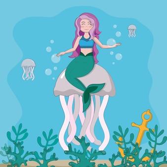 Schöne meerjungfrau, die in meer mit quallenvektor-illustrationsgrafikdesign schwimmt