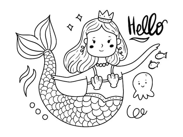 Schöne meerjungfrau färbung linie kunst zeichnungssatz illustration