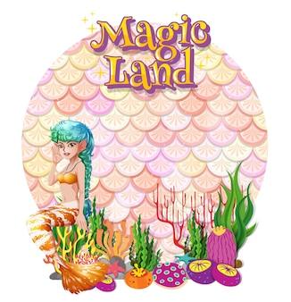 Schöne meerjungfrau-karton-figur mit leerem pastellskalen-banner isoliert