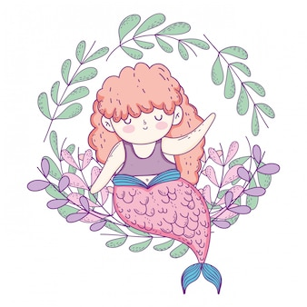 Schöne meerjungfrau mit blattkrone