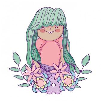 Schöne meerjungfrau mit kranzblumen