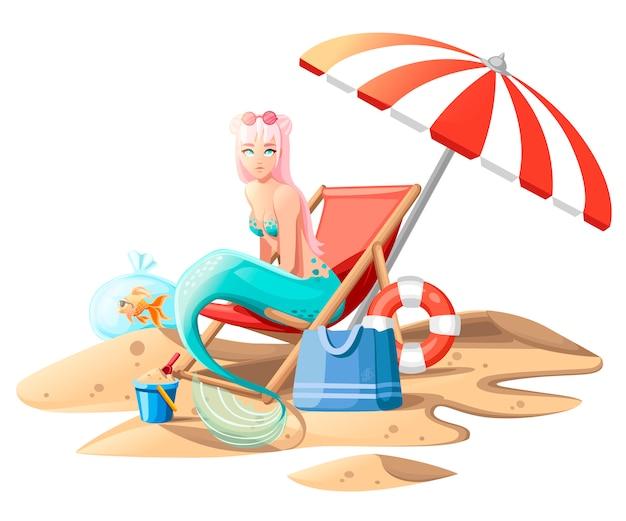 Schöne meerjungfrau. nette meerjungfrau der karikaturart, die auf strandkorb sitzt. rosa haarfarbe und türkisfarbener bh und schwanz. flache illustration auf weißem hintergrund mit sand.