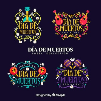 Schöne mexikanische festlichkeit abzeichen sammlung mit flachen design