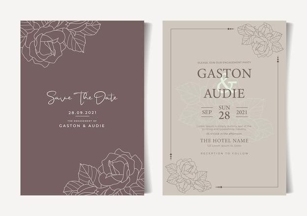 Schöne minimalistische blumenblumenhochzeitseinladungskarte