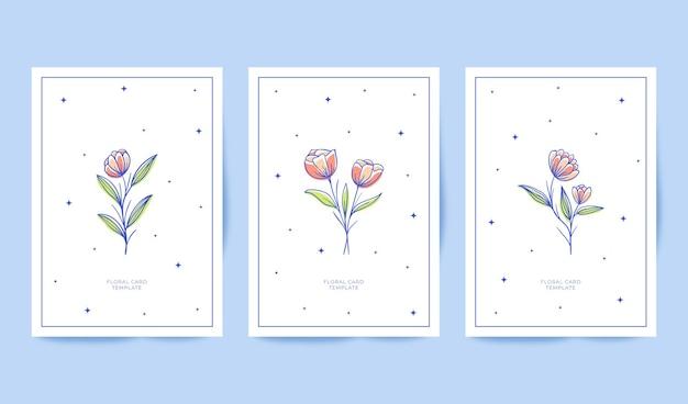 Schöne minimalistische handgezeichnete blumenkartensammlung