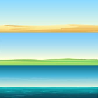 Schöne minimalistische horizontale bannerlandschaften der sandwüste, des ländlichen feldes der wiese und des hintergrunds des meerozeans
