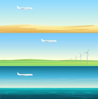 Schöne minimalistische horizontale bannerlandschaften mit flugzeugen, die über das feld, das meer und die wüste fliegen