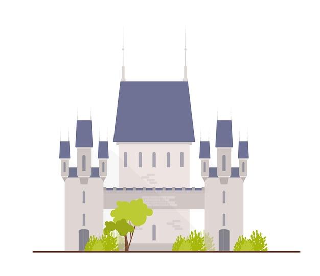 Schöne mittelalterliche burg, festung, zitadelle oder festung isoliert auf weiß
