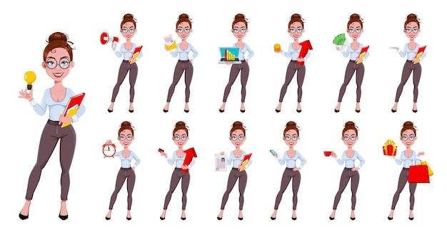 Schöne moderne geschäftsfrauenkarikaturfigur im flachen stil, satz von dreizehn posen