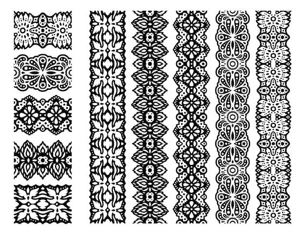 Schöne monochrome fantasieillustration mit abstrakter schwarzer pinselsammlung isoliert collection