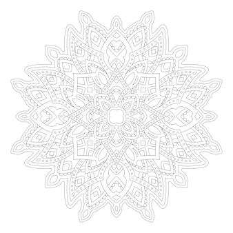 Schöne monochrome illustration für erwachsene malbuchseite mit linearem abstraktem muster lokalisiert auf dem weißen hintergrund