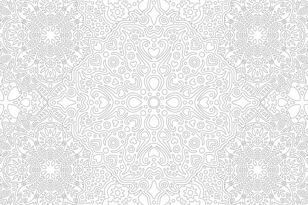 Schöne monochrome illustration für erwachsenenmalbuch mit abstrakter linearer darstellung mit herzformen