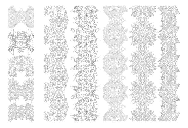 Schöne monochrome illustration für malbuch mit abstrakten detaillierten vintage-pinsel-set isoliert