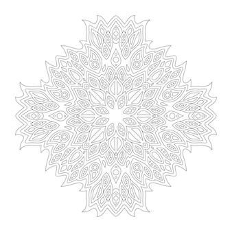 Schöne monochrome illustration für malbuchseite mit linearem abstraktem muster lokalisiert auf dem weißen hintergrund