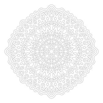 Schöne monochrome illustration für malbuchseite mit rundem linearem abstraktem muster lokalisiert auf dem weißen hintergrund