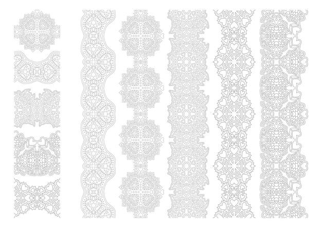 Schöne monochrome illustration für valentinstag malbuch seite mit abstrakten vintage pinsel set isoliert set