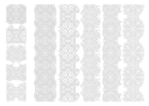 Schöne monochrome lineare illustration für erwachsene malbuchseite mit abstrakten vintage-pinsel-set isoliert auf weißem hintergrund