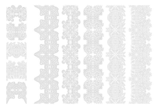 Schöne monochrome lineare illustration für malbuchseite mit abstrakten vintage-pinsel-set isoliert