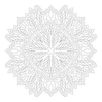 Schöne monochrome lineare illustration für malbuchseite mit einzelnem blumenmuster