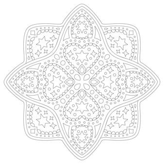 Schöne monochrome lineare illustration für malbuchseite mit isoliertem abstraktem sternenmuster und herzformen