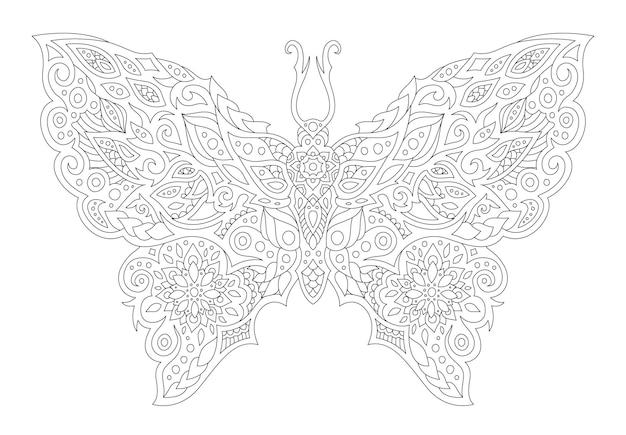 Schöne monochrome lineare vektorgrafik für malbuchseite mit stilisierter schmetterlingssilhouette auf weißem hintergrund
