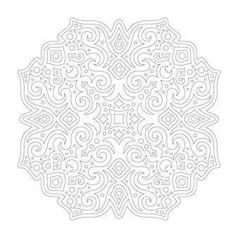 Schöne monochrome vektorillustration für malbuchseite mit linearem weinlesemuster