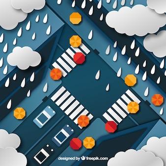 Schöne monsun saison komposition mit flachen design