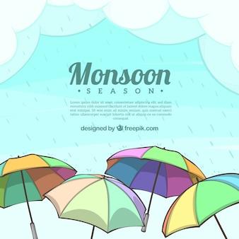 Schöne monsun saison zusammensetzung mit regenschirm