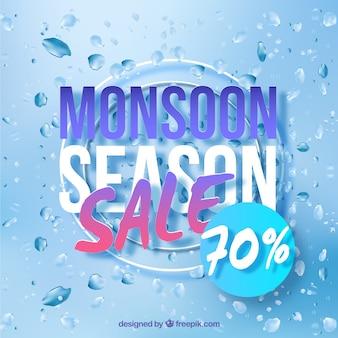 Schöne monsun-verkauf-komposition mit realistischem design