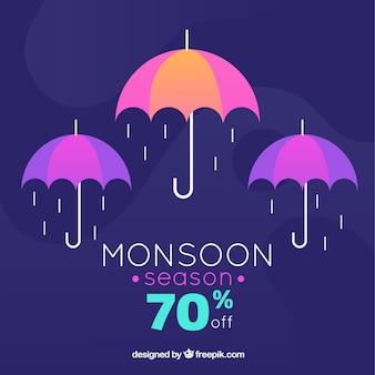 Schöne monsun verkauf zusammensetzung mit flachen design
