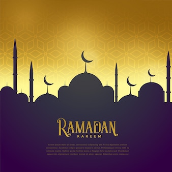 Schöne moschee auf goldenem hintergrund