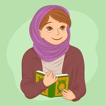 Schöne moslemische frau mit dem betenden hijab