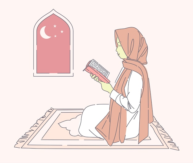 Schöne muslimische frau, die heilig auf betendem mattenvektor hand gezeichnete illustration glückliches mädchen liest, das hijab trägt, das in der nacht betet